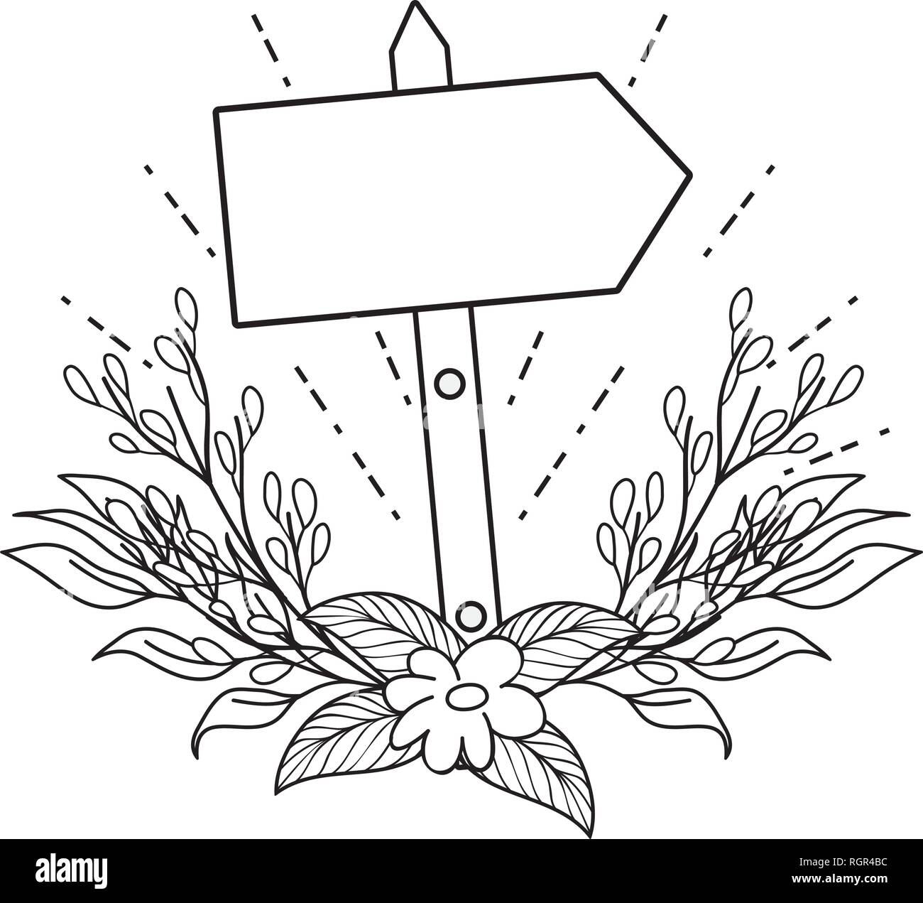 cute arrow guide wooden with flowers - Stock Vector