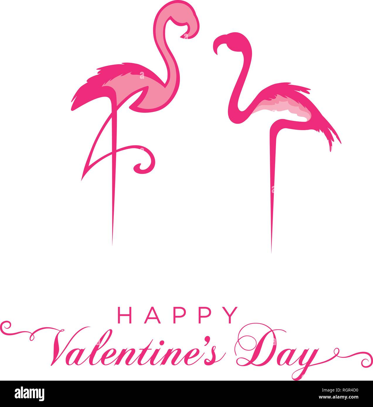 Pink flamingos.Valentine's day greeting Stock Vector