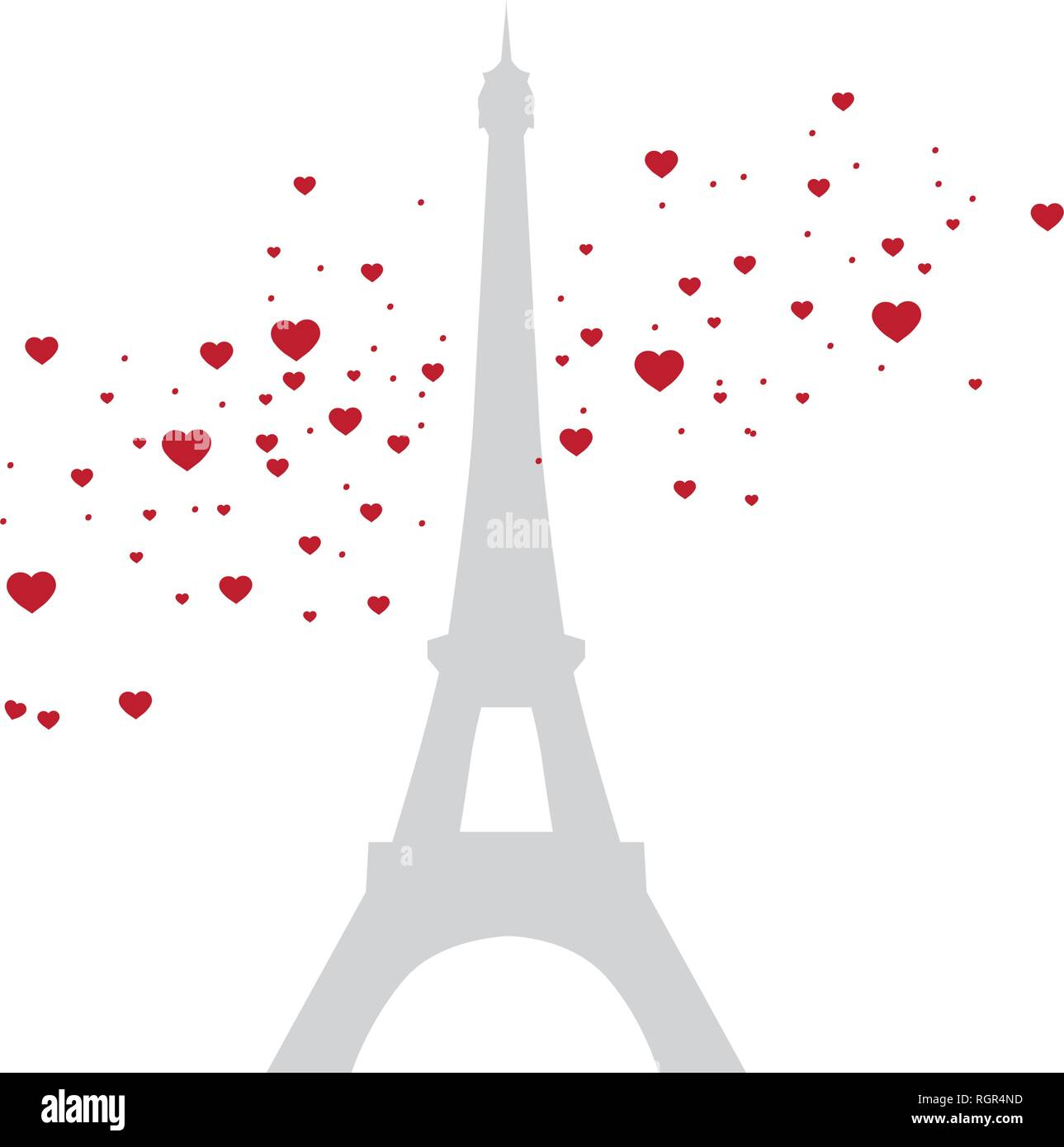 Eiffel tower with red hearts, vector - Stock Vector