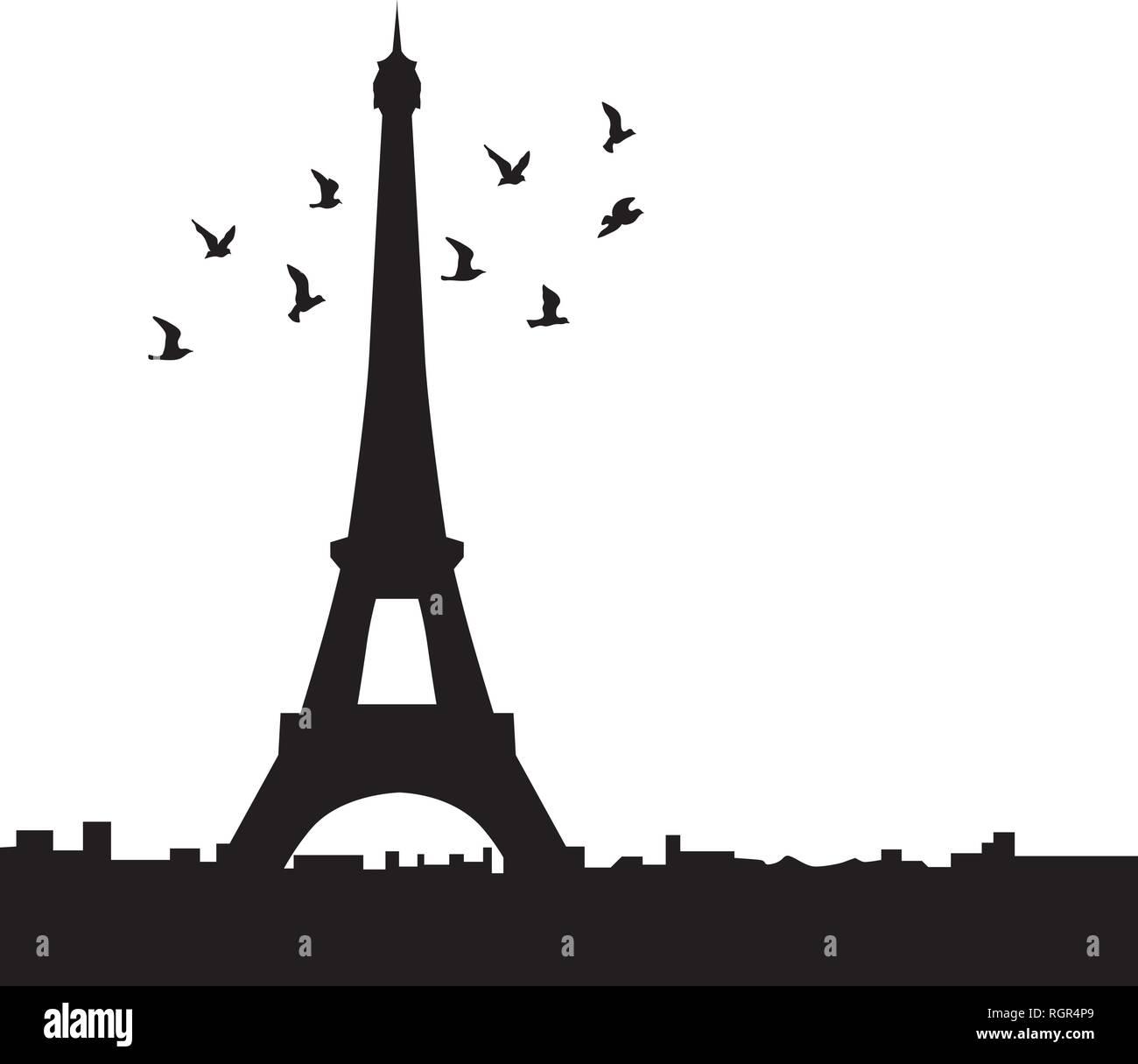 Eiffel tower with birds, vector - Stock Vector
