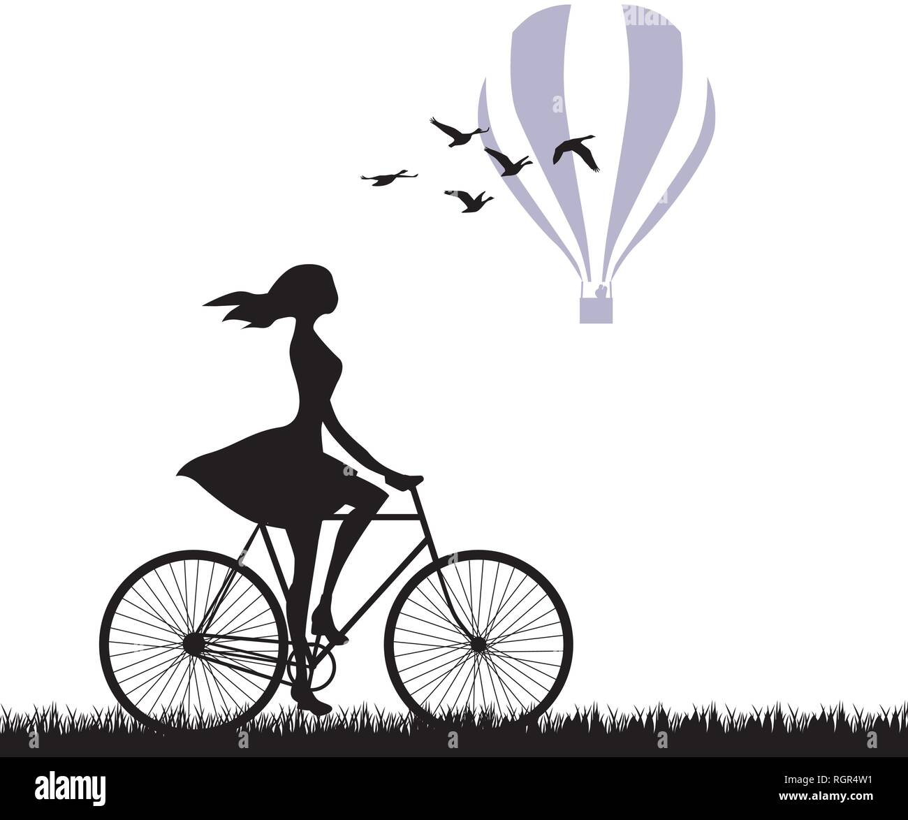 young woman riding bike with  hot air balloon in behind - Stock Vector