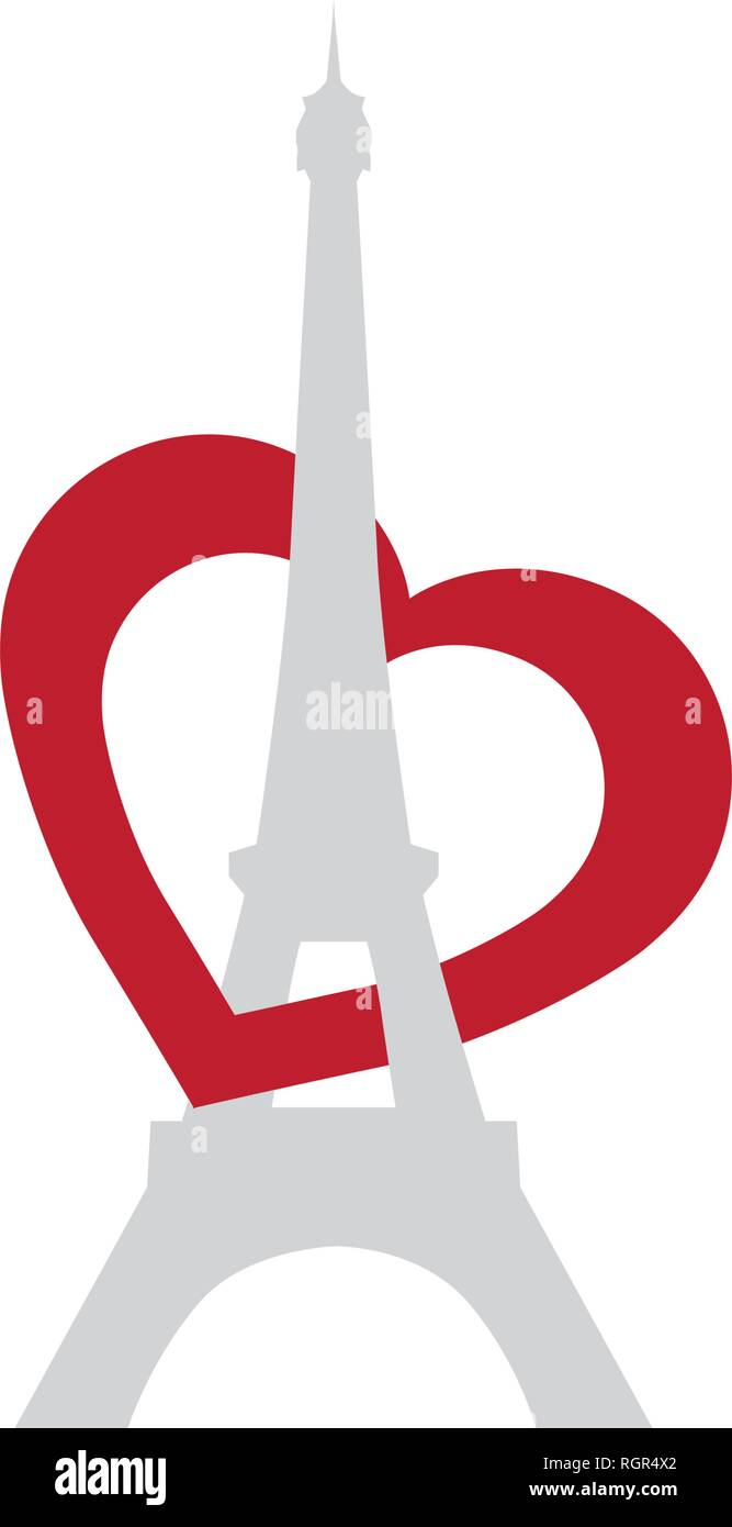 Eiffel tower with red heart, vector - Stock Vector