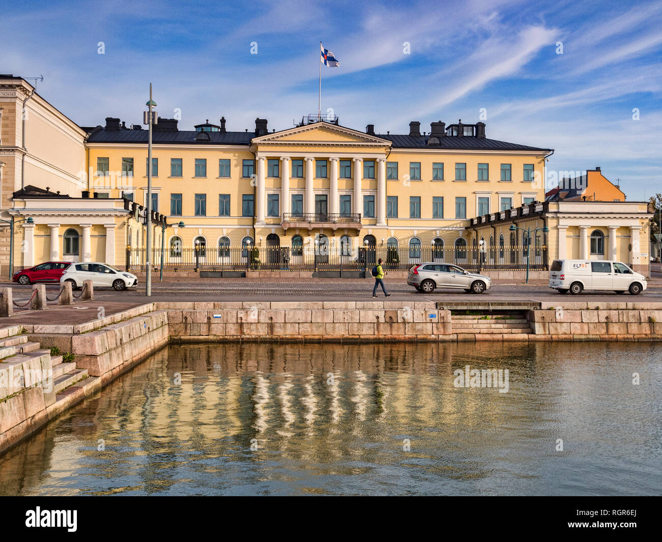 20 September 2018: Helsinki, Finland - President's Palace, or Presidentinlinna, on the Esplanadi, or waterfront, on a sunny autumn day. - Stock Image