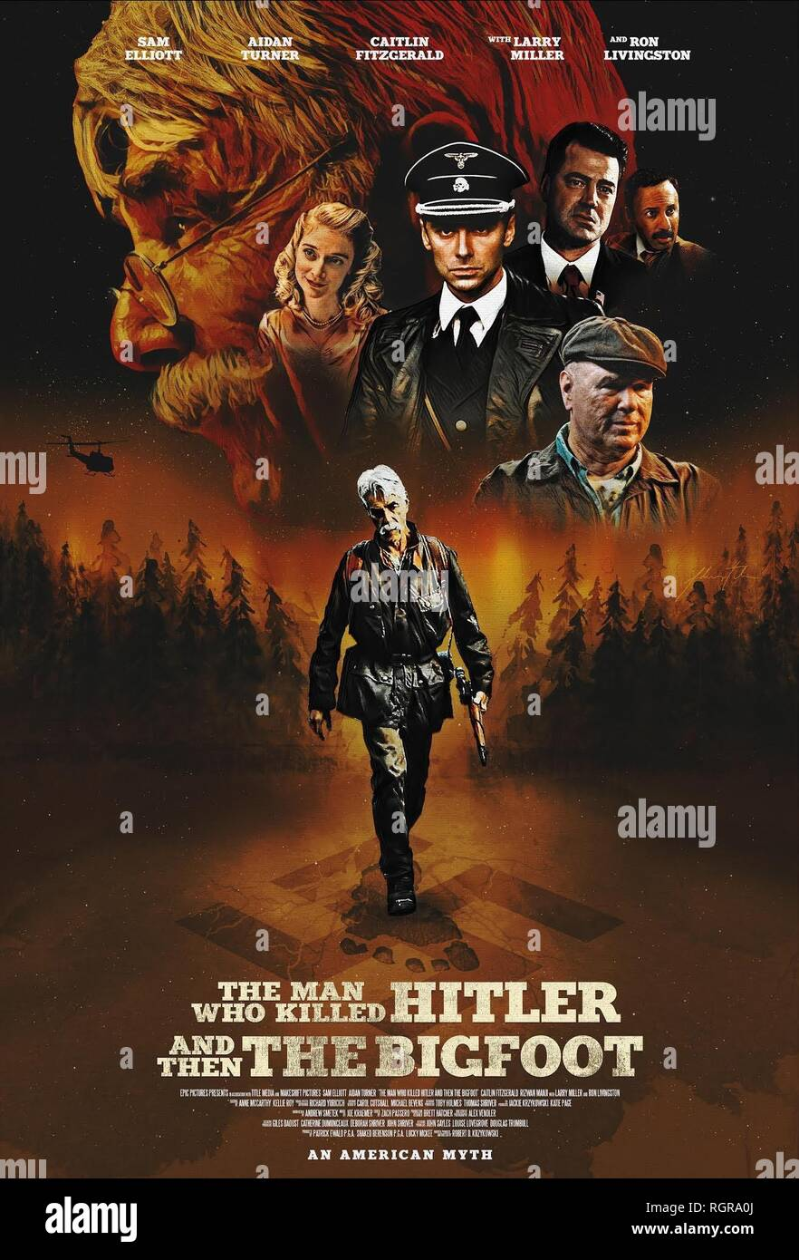MOVIE POSTER THE MAN WHO KILLED HITLER AND THEN THE BIGFOOT (2018) Stock Photo