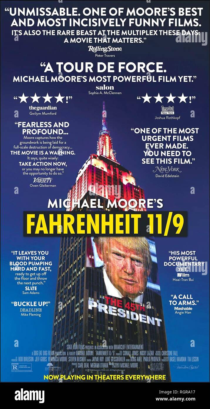MOVIE POSTER FAHRENHEIT 11/9 (2018) - Stock Image