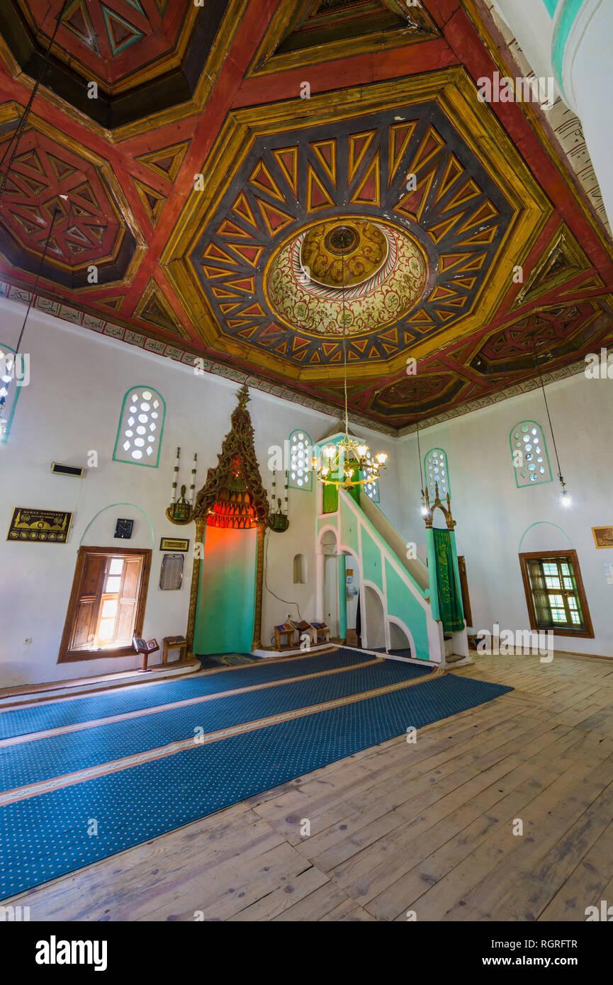 King's Mosque, Prayer Hall, Wooden carved ceiling, Berat, Albania - Stock Image