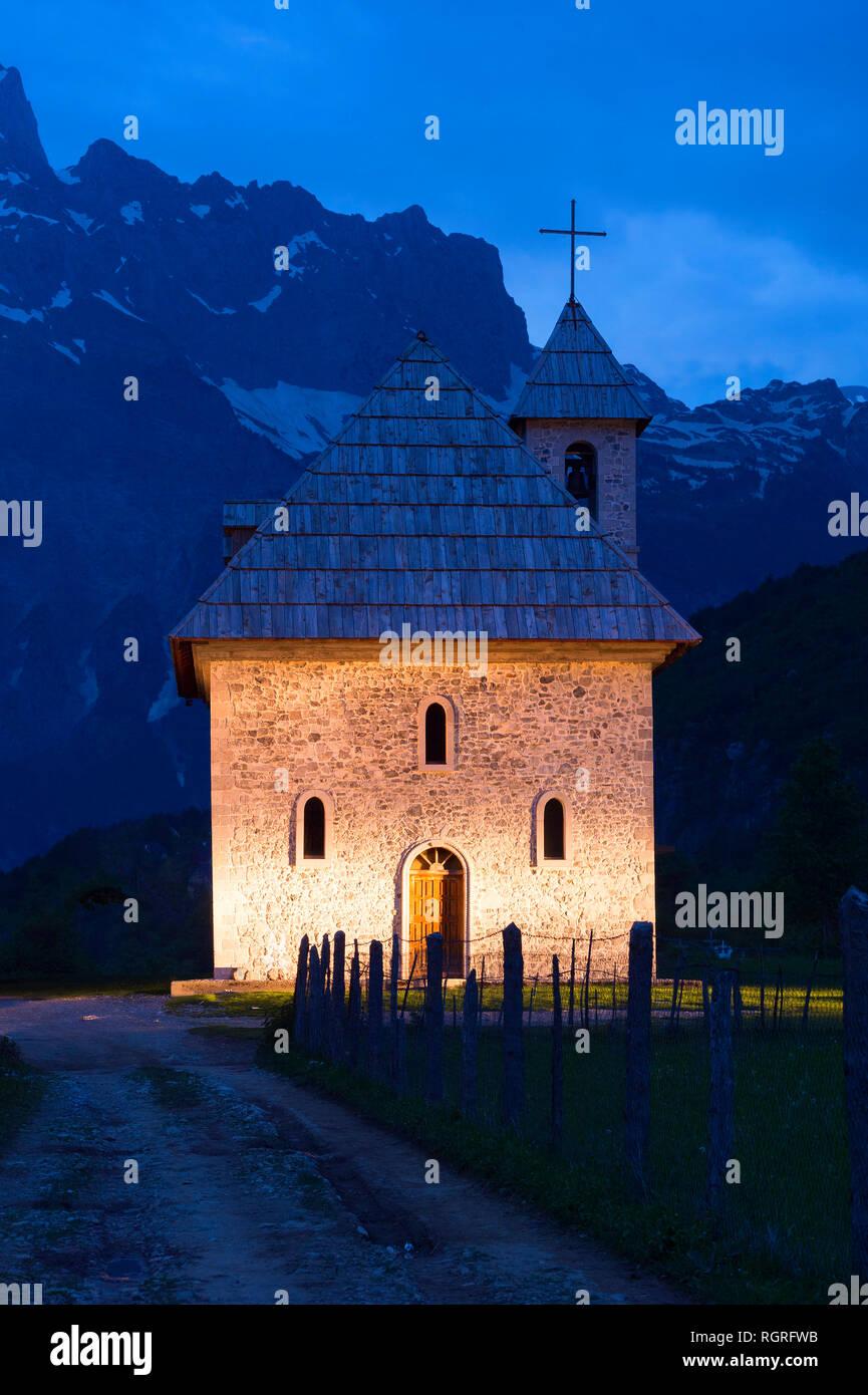Catholic Church at night, Thethi village, Thethi valley, Albania - Stock Image