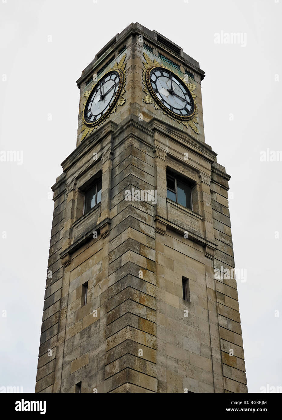 Looking up at the clock tower in Stanley Park, Blackpool, UK Stock Photo