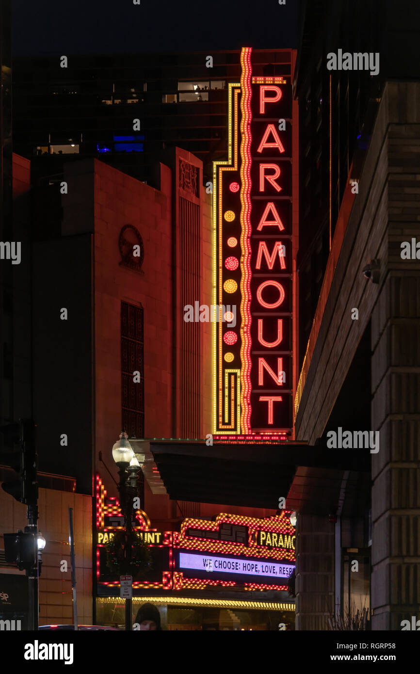 Neon signs at the Paramount Theatre and Cinema at night time in Boston - Stock Image