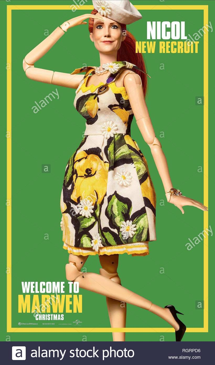 WELCOME TO MARWEN, LESLIE MANN POSTER, 2018 - Stock Image
