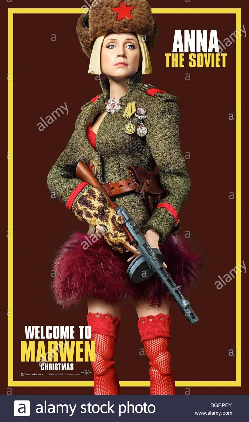 WELCOME TO MARWEN, GWENDOLINE CHRISTIE POSTER, 2018 - Stock Image