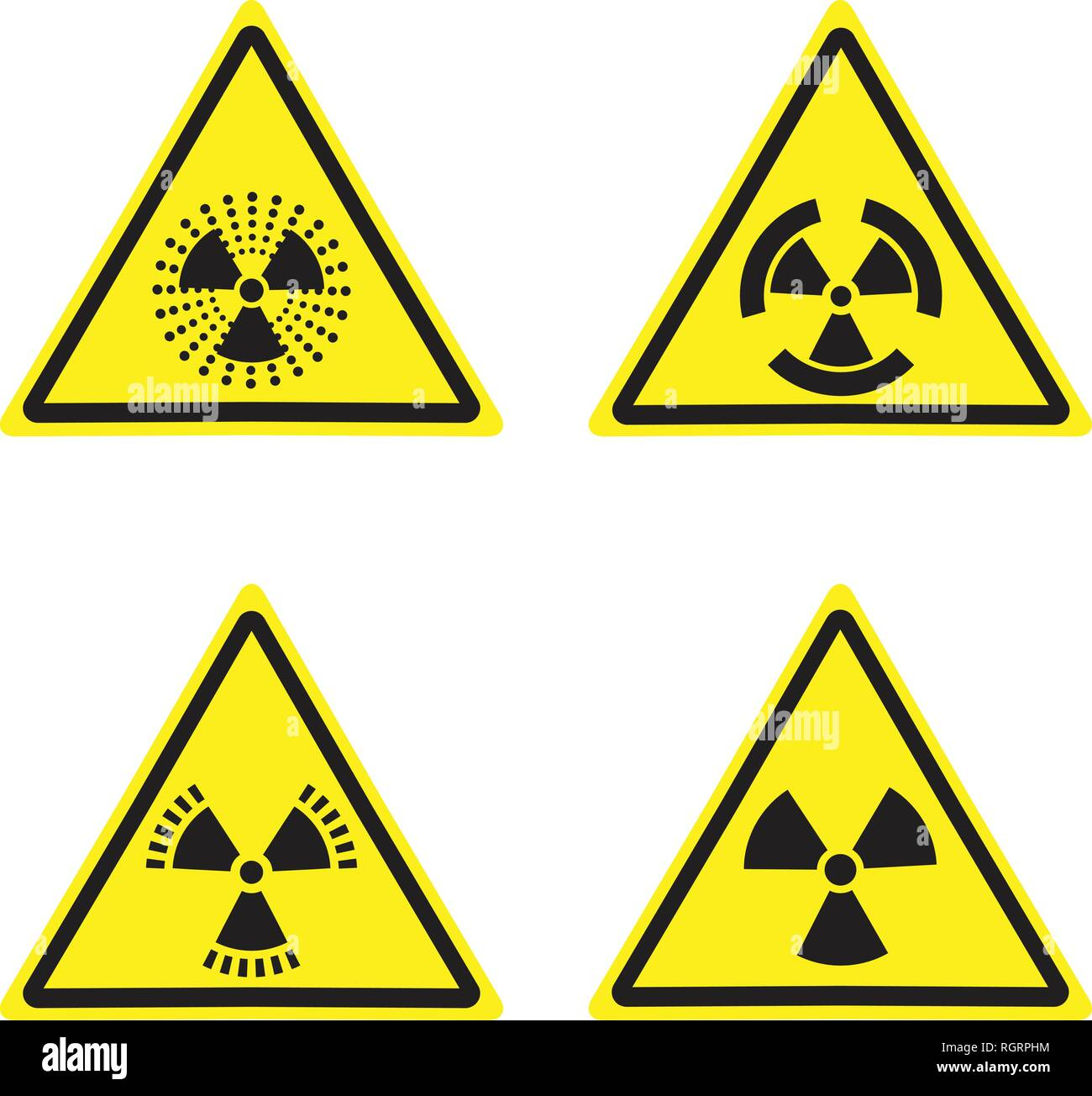 Vector radiation sign warning yellow triangle isolated on white Stock Vector