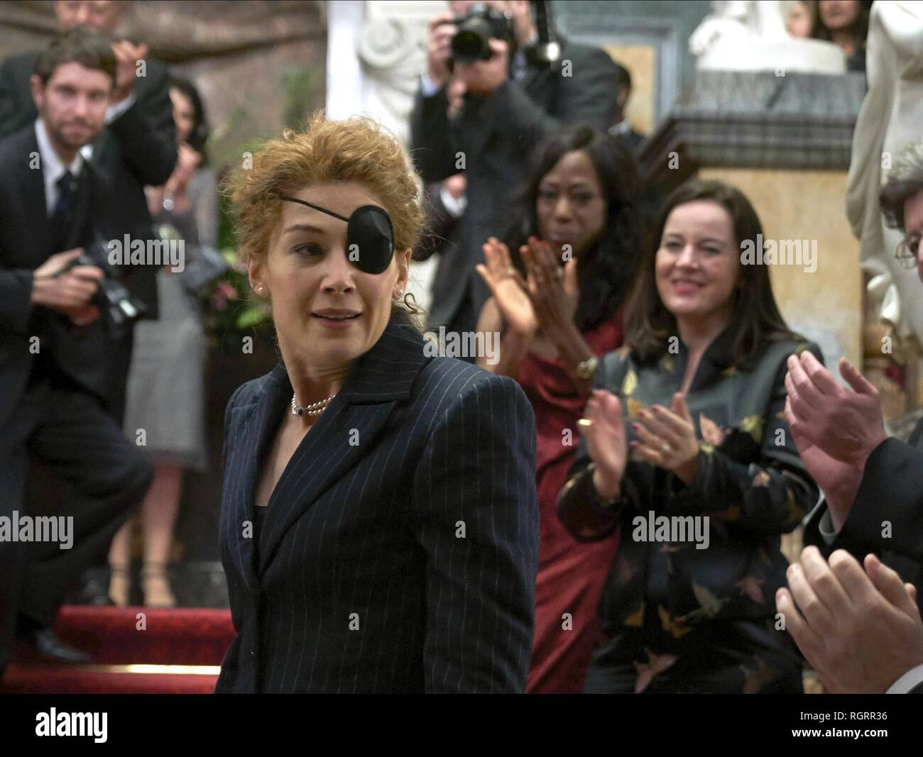 ROSAMUND PIKE  Character(s): Marie Colvin  Film 'A PRIVATE WAR' (2018)  Directed By MATTHEW HEINEMAN  31 October 2018  SAX94001  Allstar Picture Library/AVIRON PICTURES  **WARNING** This Photograph is for editorial use only and is the copyright of AVIRON PICTURES  and/or the Photographer assigned by the Film or Production Company & can only be reproduced by publications in conjunction with the promotion of the above Film. A Mandatory Credit To AVIRON PICTURES is required. The Photographer should also be credited when known. No commercial use can be granted without written authority from the Fi - Stock Image