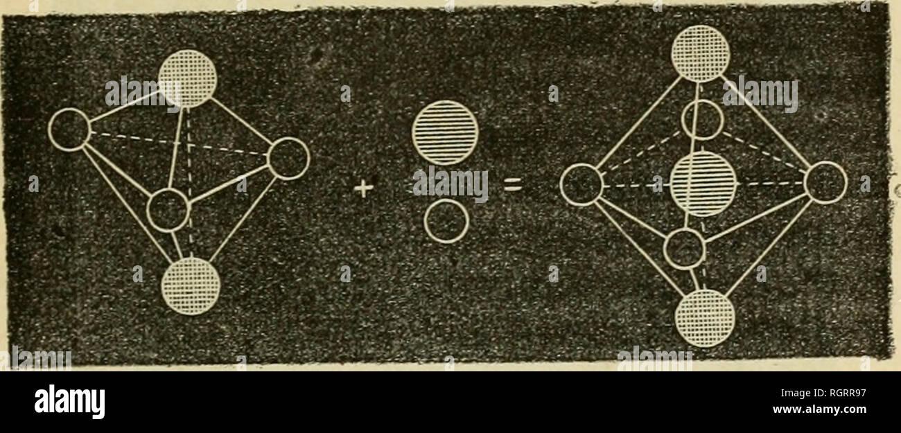 . Bulletin de la Socit d'histoire naturelle de Toulouse. Natural history; Natural history -- France. â 185 â se groupent pour former un solide équilibré; il n'y a qu'un seul arrangement possible, c'est celui d'une double pyra- mide triangulaire De pareils solides s'associent en formant des fdes s'enchevêtrant les unes dans les autres. Cette ma- nière d'être permet théoriquement de cliver le cristal suivant six plans dittérents. Les cristaux de corindon que l'on ob- tient par la méthode indiquée par M. Gandin, possèdent ce clivage sextuple, qui a été découvert par M. Dufrenoy. L'ac Stock Photo