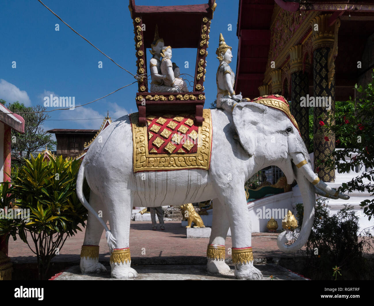 Elephant sculpture in Whiskey village Ban Xang Hai Laos Asia renowned for producing lao Lao rice whiskey - Stock Image