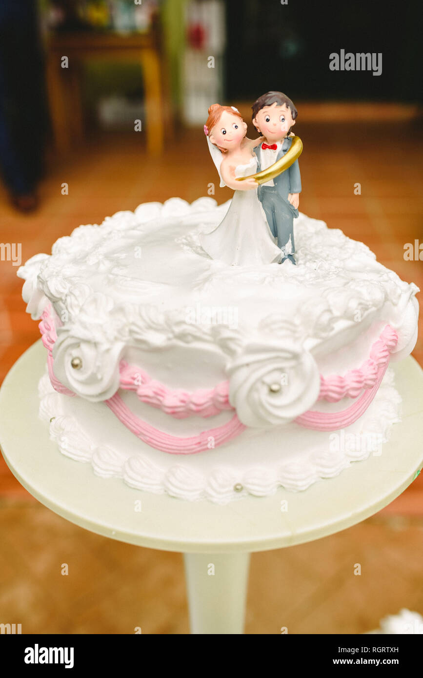 Grooms Cake With Newlyweds Figurines Stock Photo 234093737