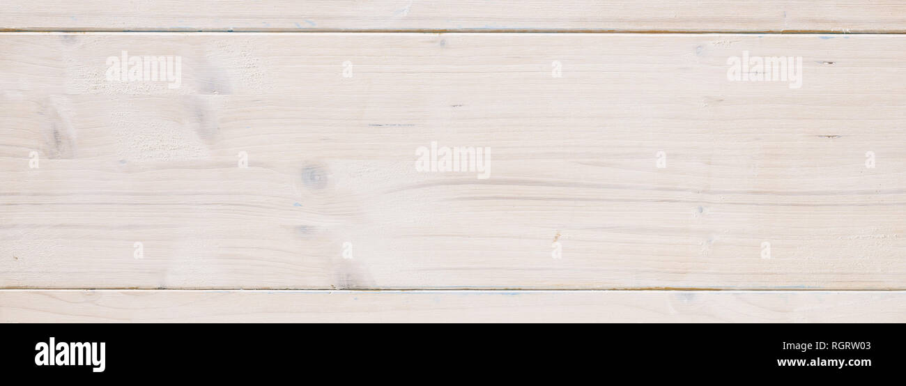 Pine wood natural board background, texture. Wooden planks, white color painted, floor or wall, banner - Stock Image