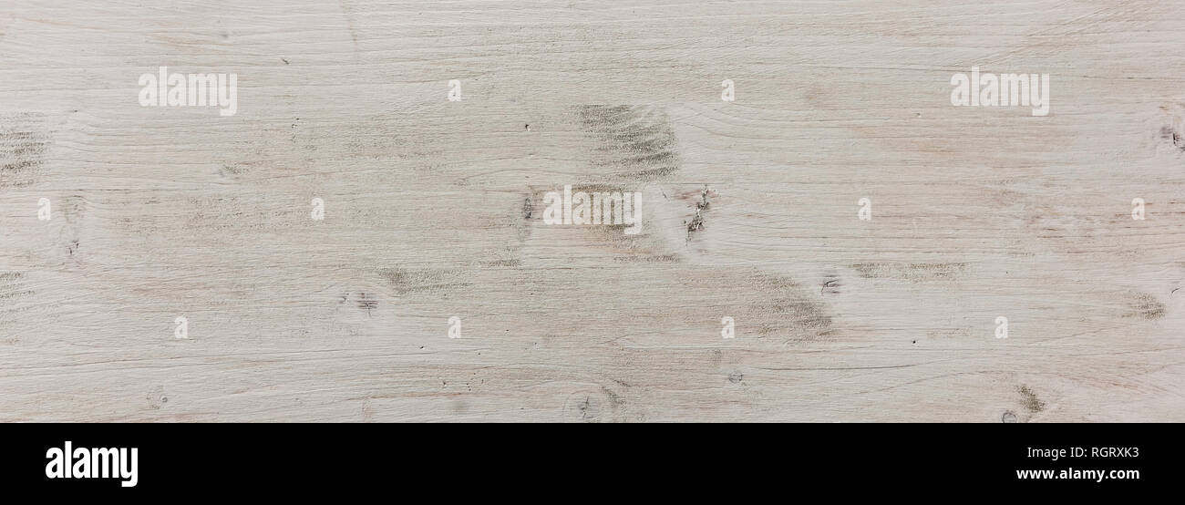 Wood natural board background, texture. Wooden planks, white color painted, floor or wall, banner - Stock Image