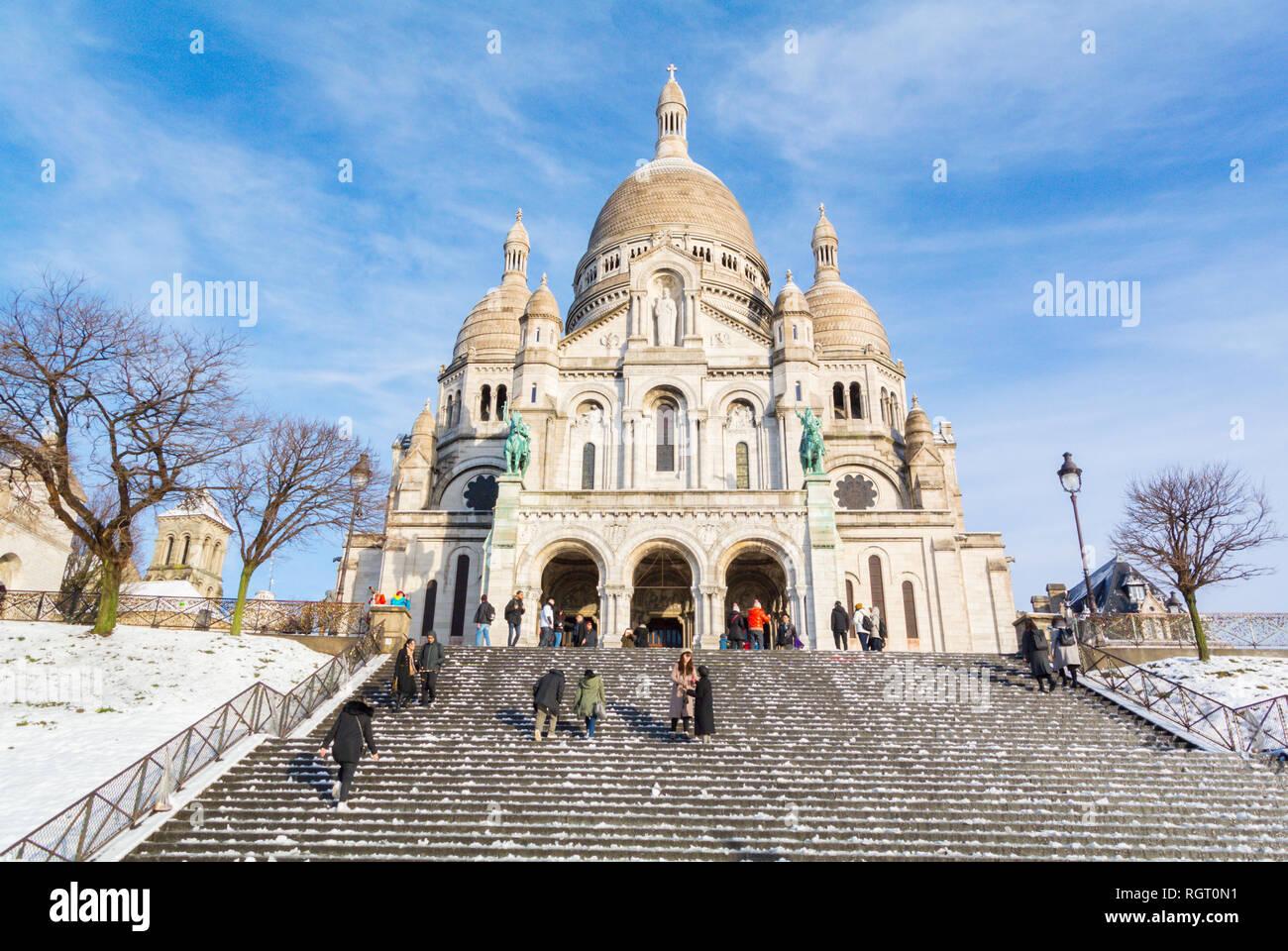 Basilica Sacre Coeur in Montmartre under snow, Paris, France Stock Photo