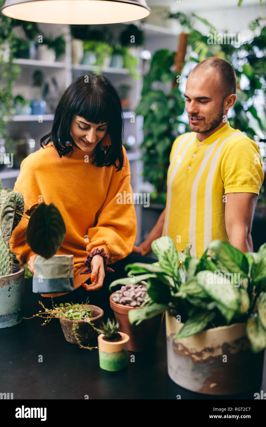 Man and woman working in the flower shop. Small business owners, retailing, professionals. - Stock Image