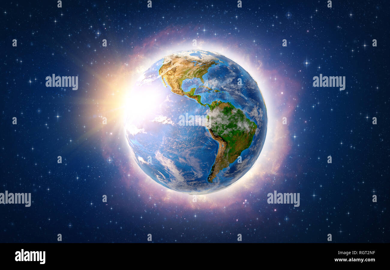 Global warming on Planet Earth, over America. 3D illustration - Elements of this image furnished by NASA. - Stock Image