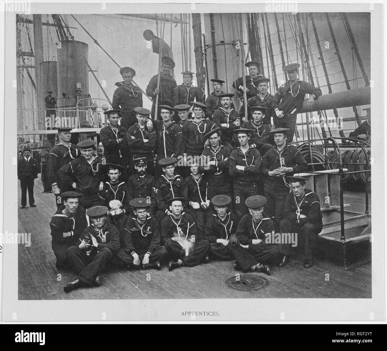 USS PENSACOLA (1859-1911) Ship's apprentices pose with