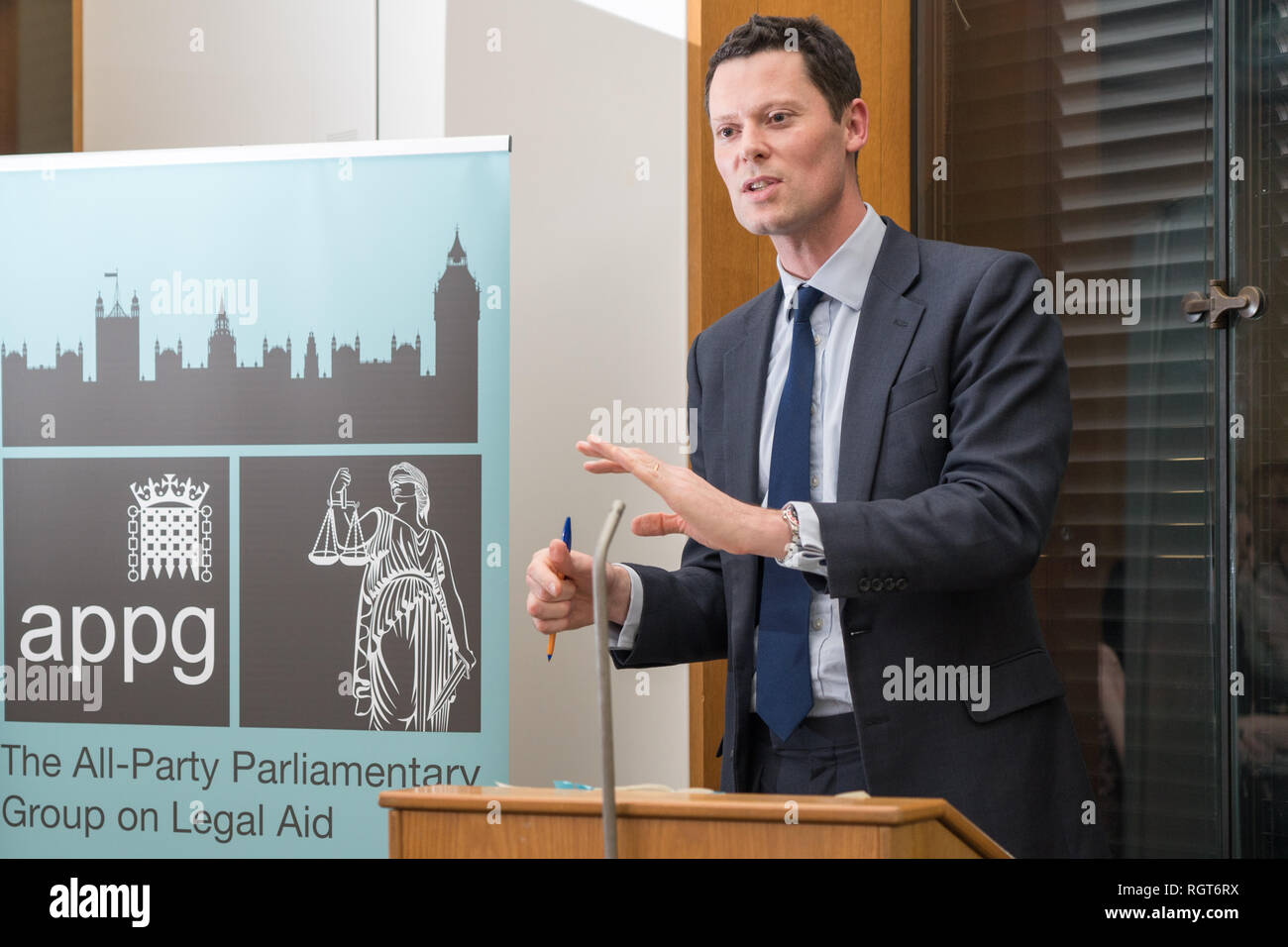 Alex Chalk, Conservative MP for Cheltenham, giving a talk at an All-Party Parliamentary Group on Legal Aid event organised by the Legal Aid Practition - Stock Image