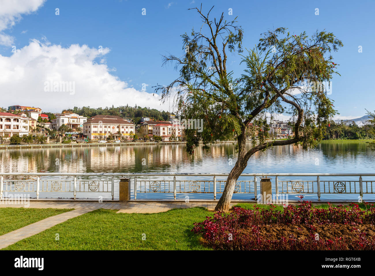 Sapa, Vietnam - November 20, 2018: Green tree on the background of the lake and the city. Beautiful landscape. - Stock Image