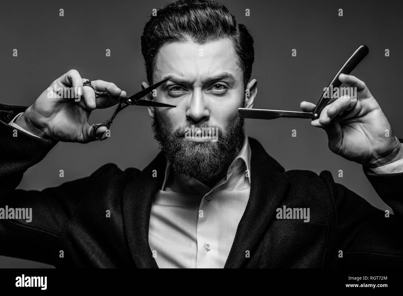 Hairdresser Hair Cut Tattoo High Resolution Stock Photography And Images Alamy