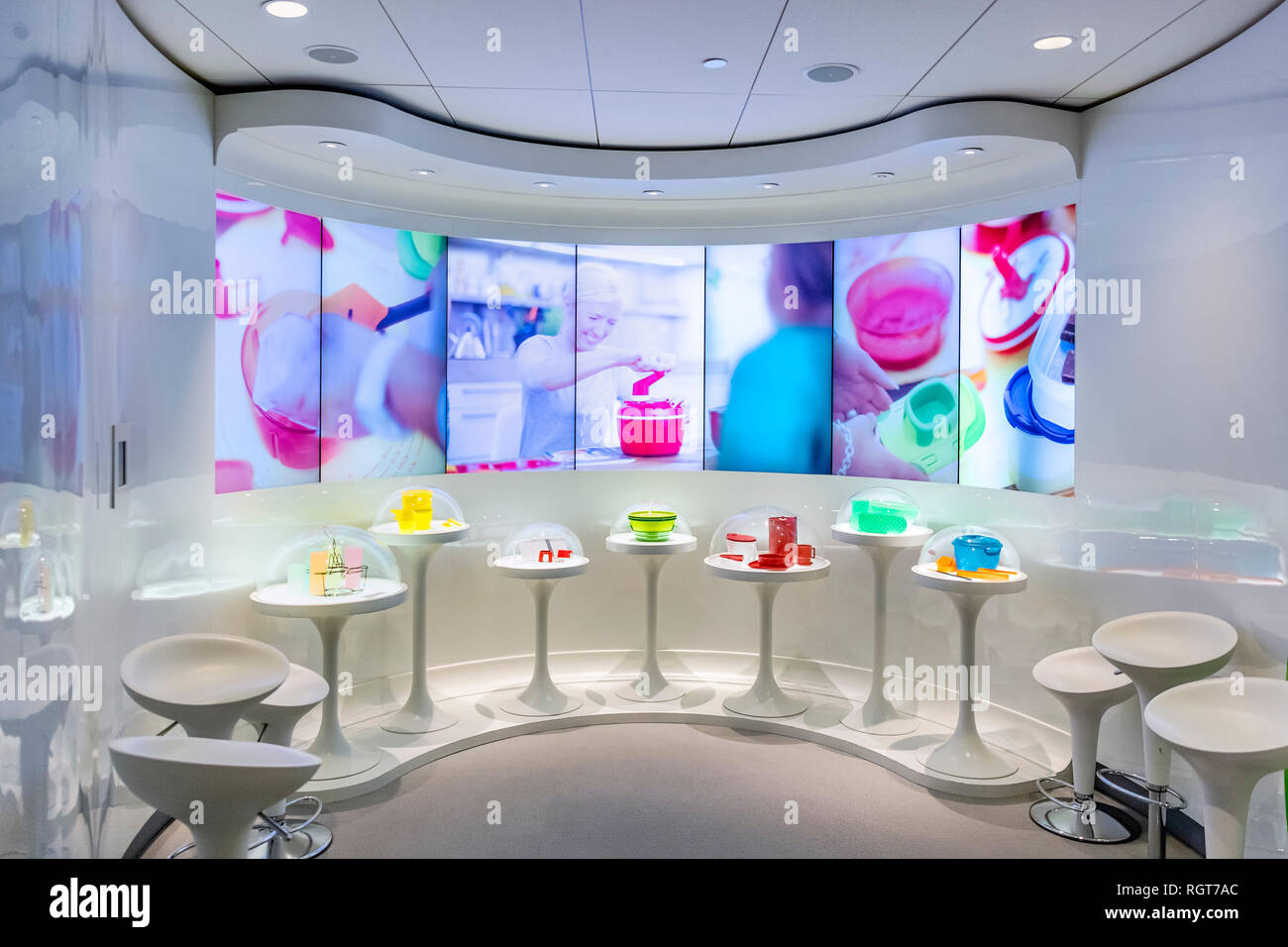 Tupperware Brands Corpotate history and product display at corporate headquarters, Kissimmee, Florida, USA. - Stock Image