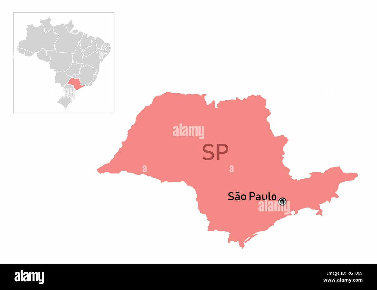Sao Paulo State Map.Illustration Of The Sao Paulo State And Its Location In Brazil Map