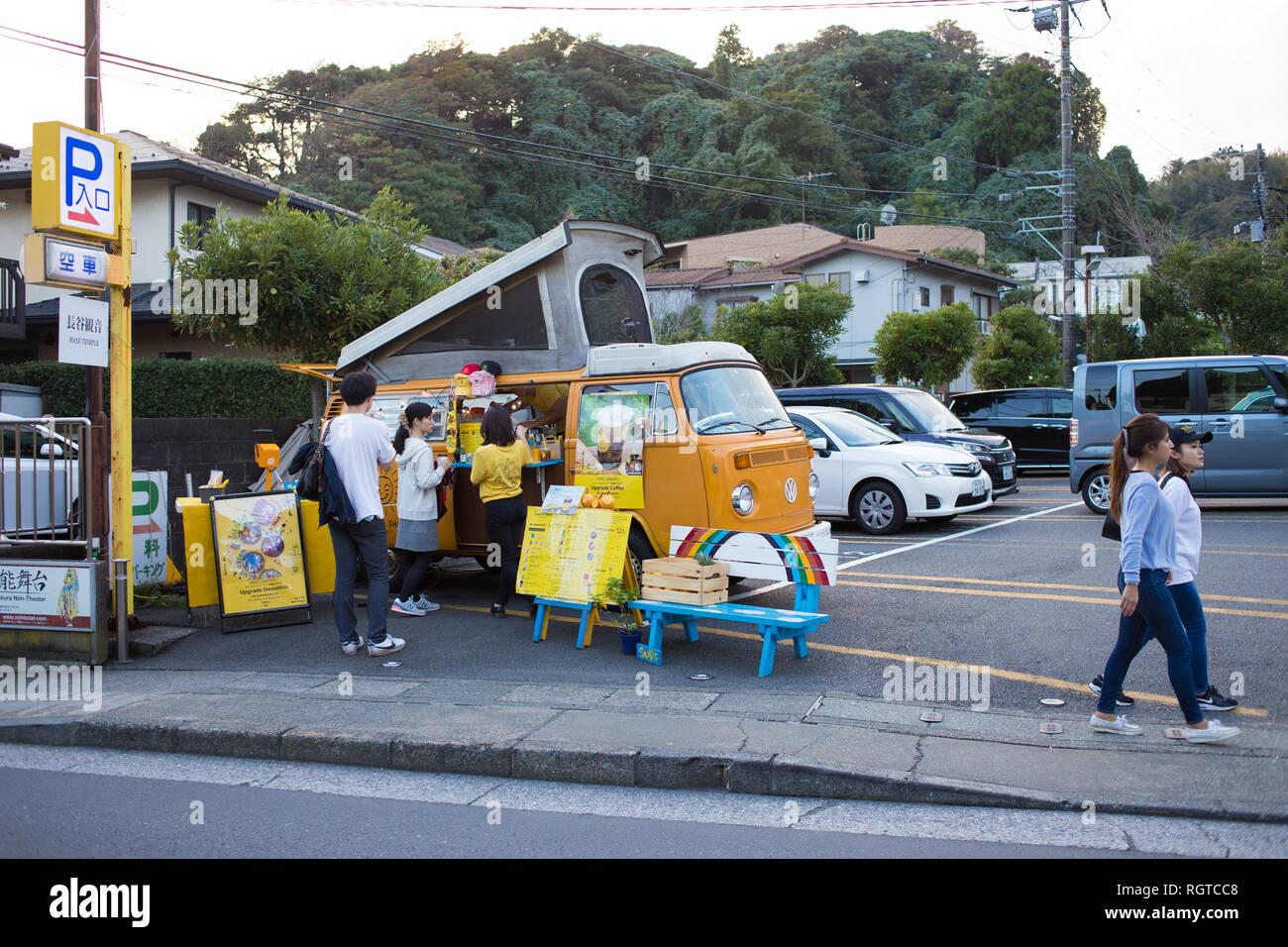 Vendors in Kamakura, Kanagawa, Japan.  Photo by Akira Suemori - Stock Image