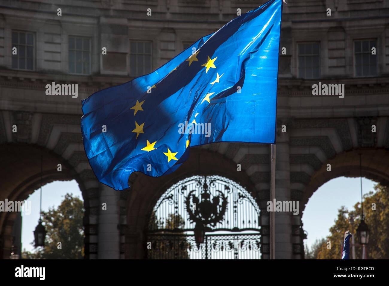 European flag fluttering - Stock Image