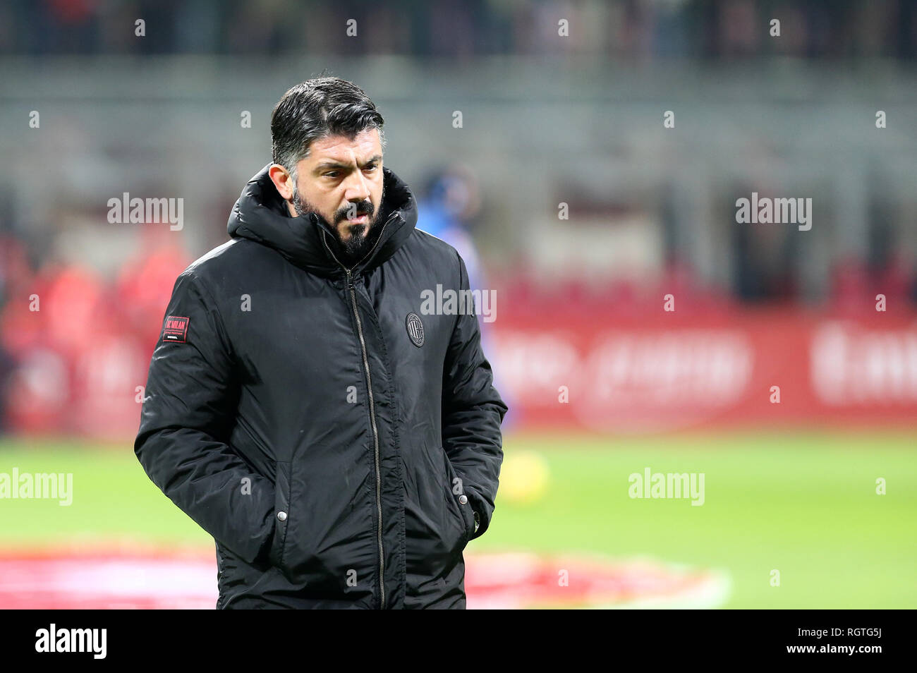 Milano Italy 29th January 2019 Gennaro Gattuso Head Coach Of Ac Milan Looks On Before The Coppa Italia Quarter Finals Football Match Between A Stock Photo Alamy