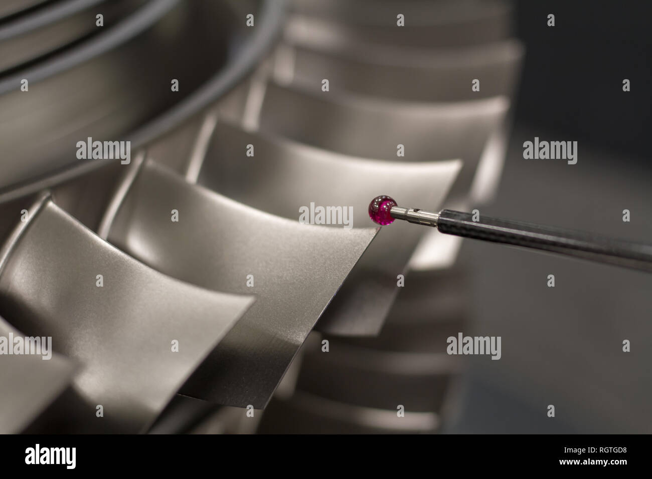 inspect dimension metal parts by CMM after machining process in industrial factory Stock Photo