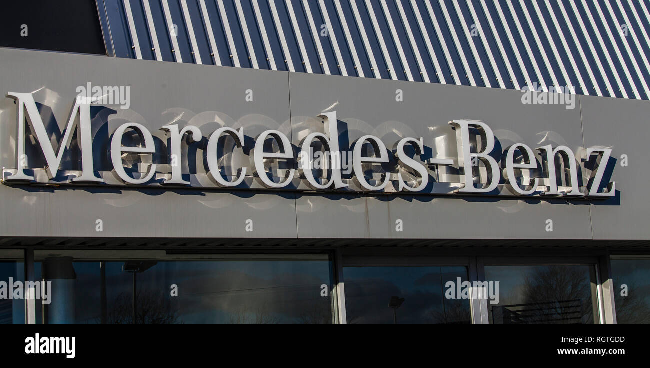 Mercedes Benz sign at their showrooms at Stockton on Tees,England,UK - Stock Image