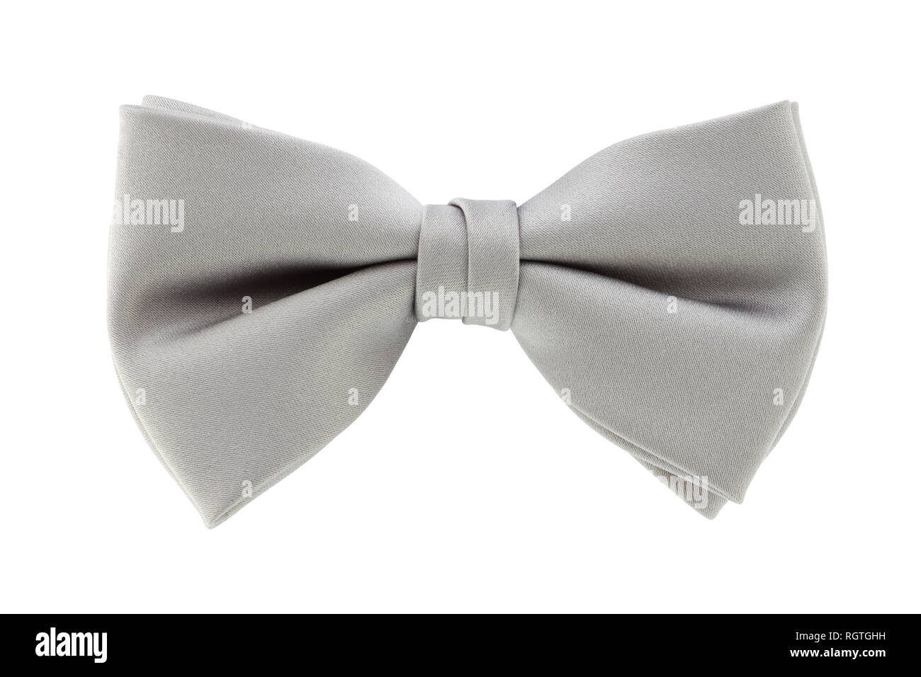 A silver grey bow tie isolated on white background with clipping path - Stock Image