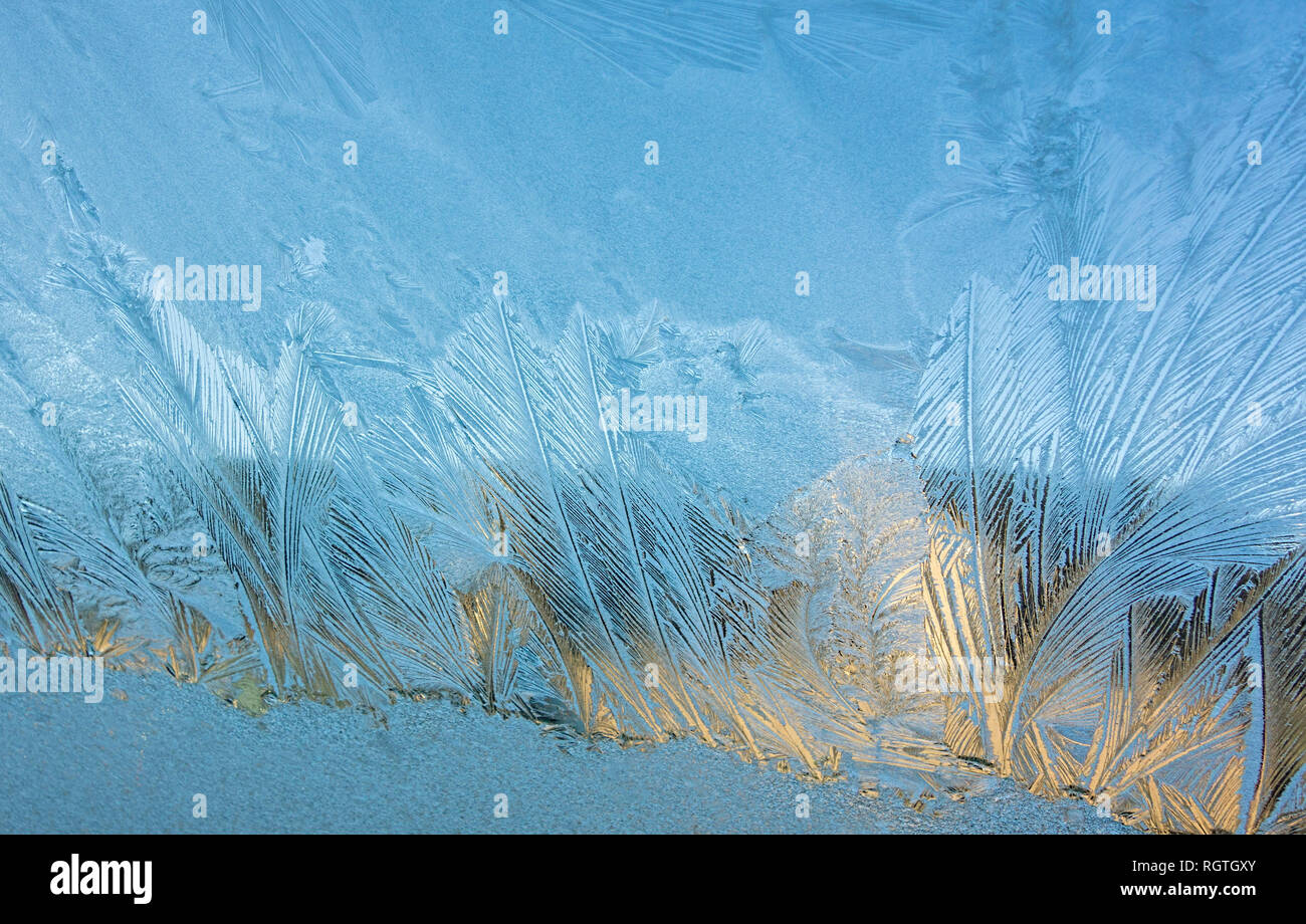 Ice patterns on car windscreen UK - Stock Image