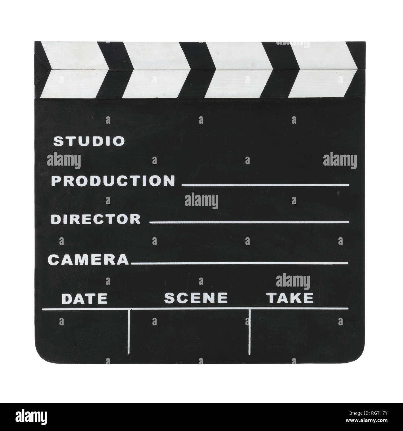 Classic hollywood chalk clapperboard isolated on a white background with clipping path - Stock Image