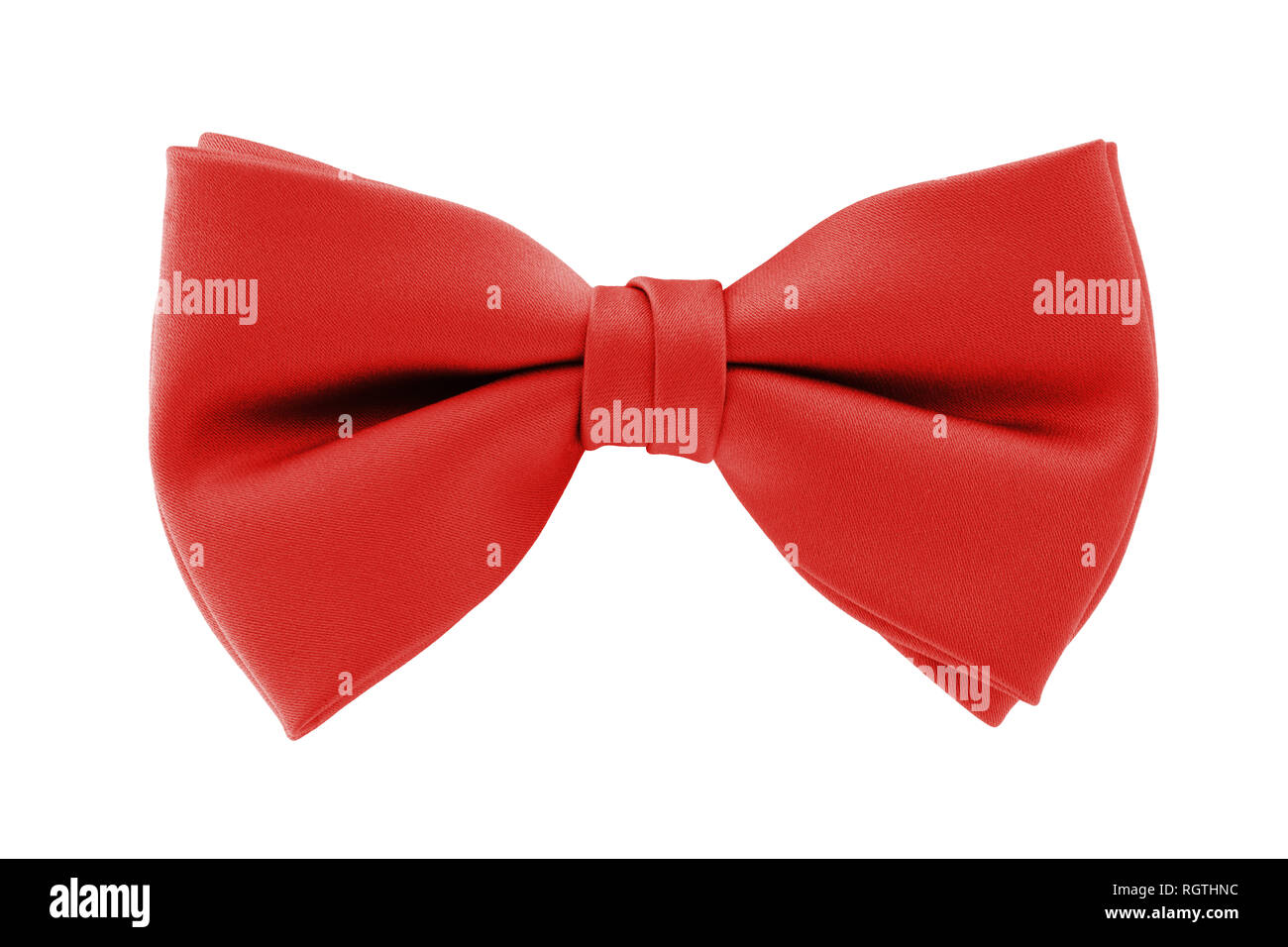 A red bow tie isolated on white background with clipping path - Stock Image