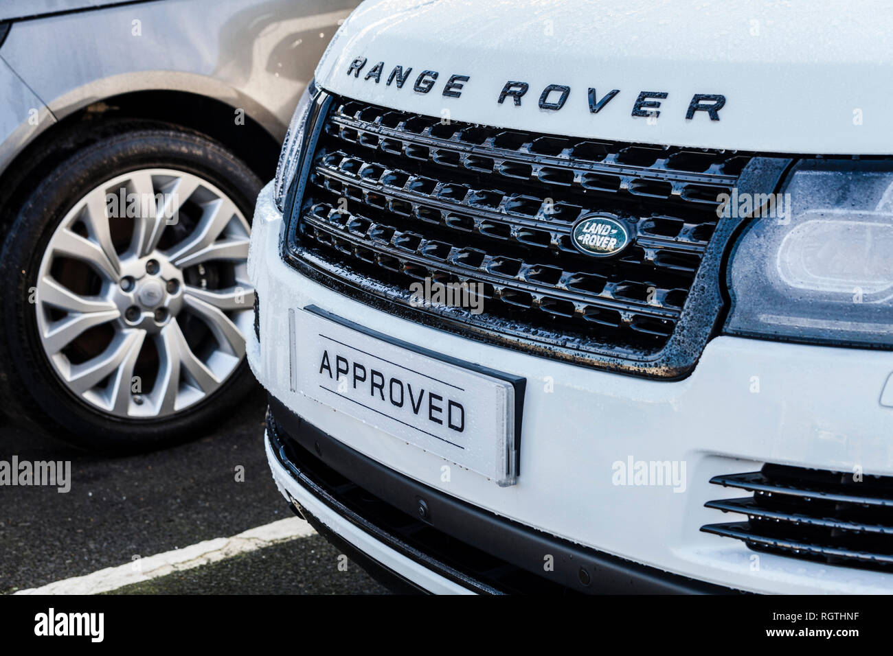 Close up of Range Rover car at the showrooms at Stockton on Tees,England,UK - Stock Image
