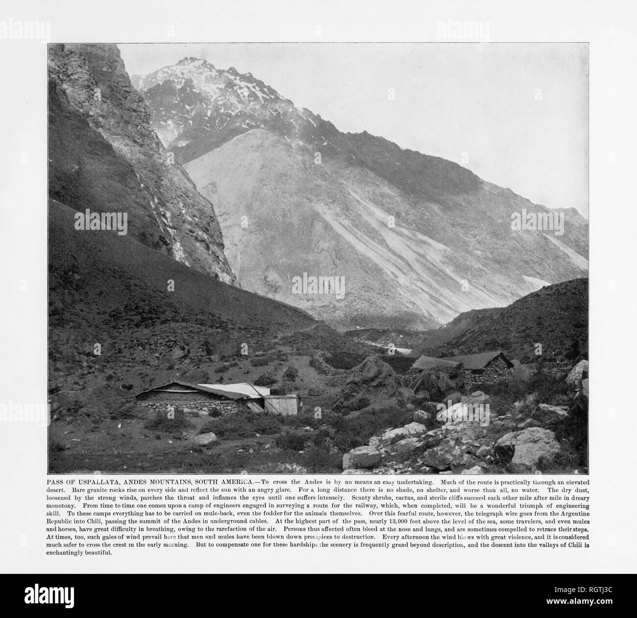 Pass of Uspallata, Andes Mountain, South America, Antique South American Photograph, 1893 - Stock Image