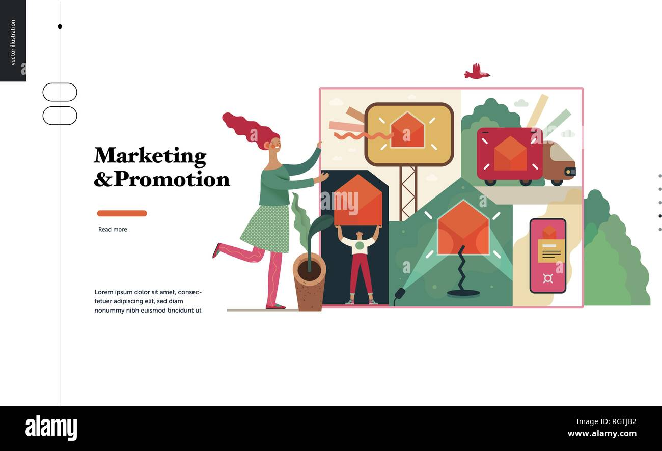 Technology 2 -Marketing and Promotion modern flat vector concept digital illustration marketing metaphor, company brand promotion. Business workflow m - Stock Image