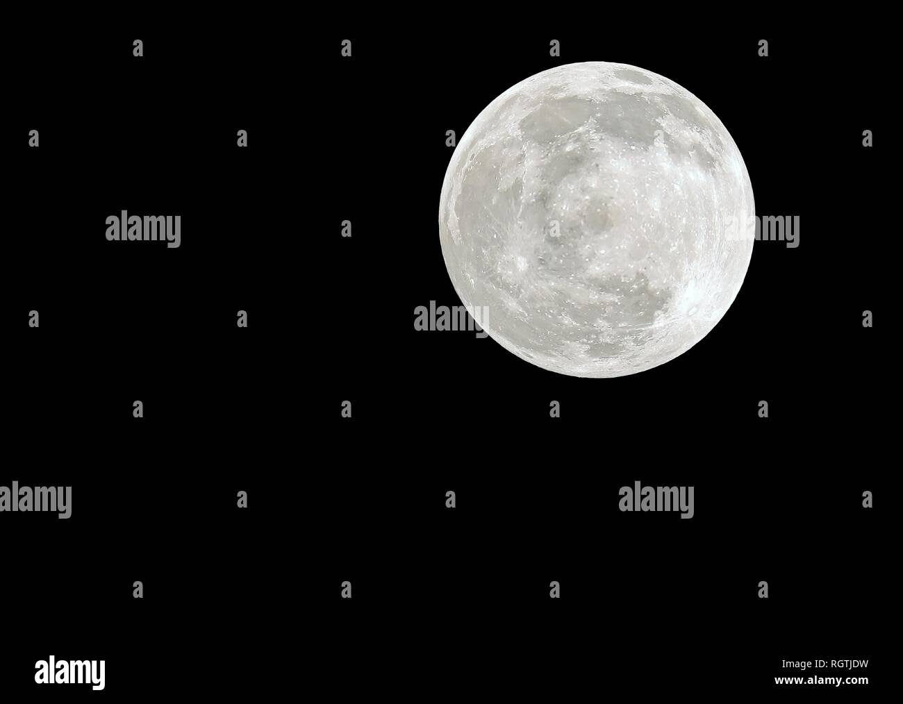 Big Full Moon on the dark night without stars - Stock Image