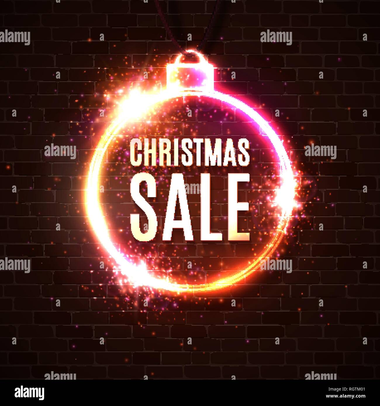 Christmas sale discounts banner. Neon style illuminated card postcard on dark red brick wall. Neon sign luminous poster night advertising Christmas sa - Stock Vector