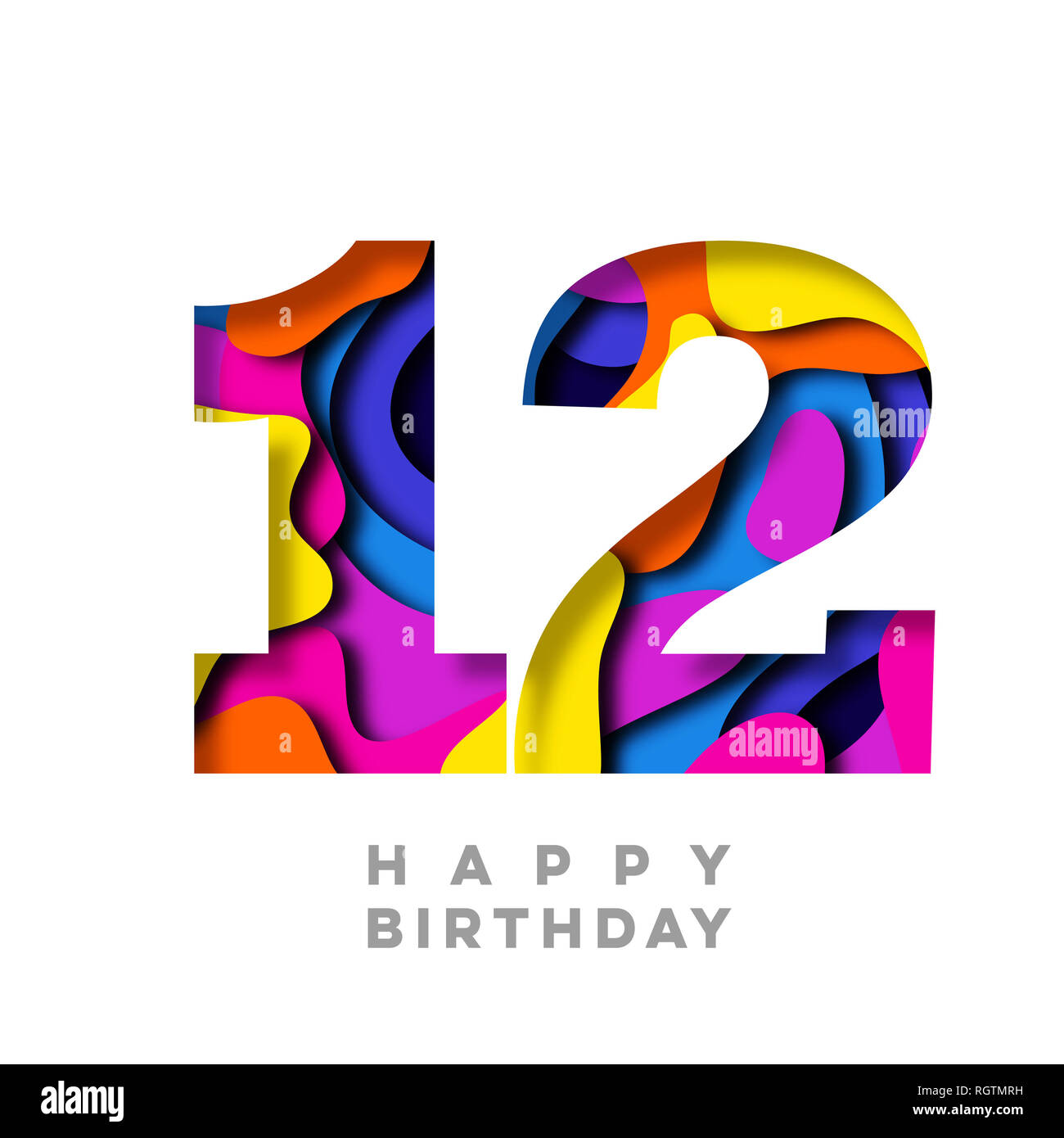 Number 12 Happy Birthday Colorful Paper Cut Out Design