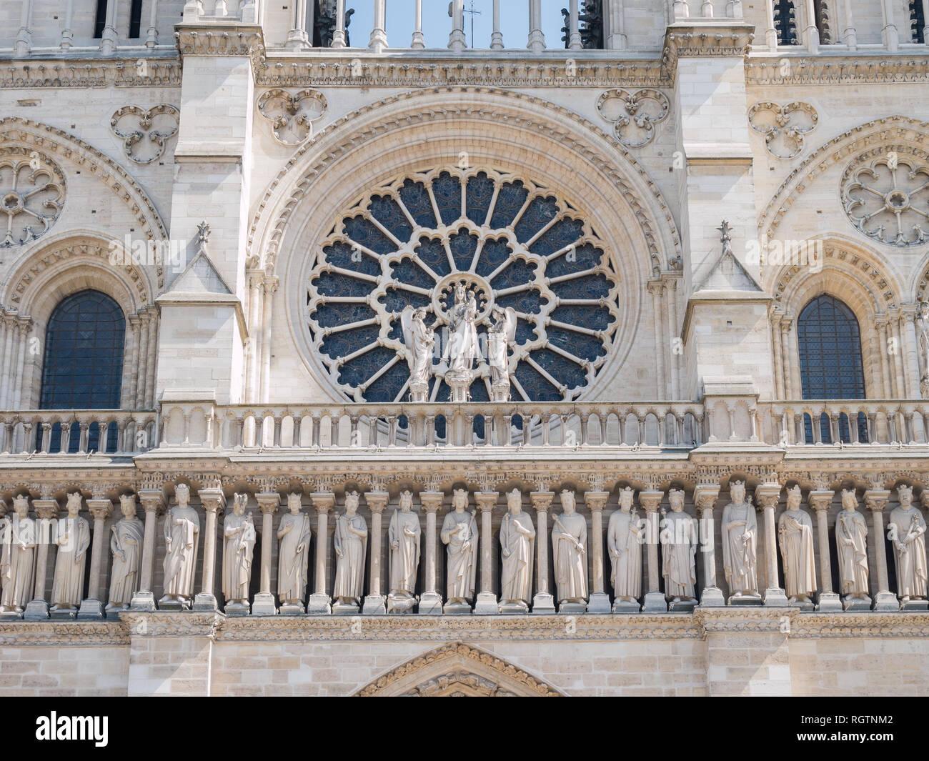 Exterior view of the famous Notre-Dame de Paris at Paris, France - Stock Image