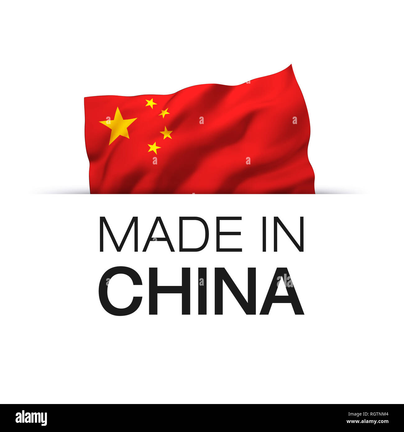 b929cd72 Made in China - Guarantee label with a waving Chinese flag. - Stock Image