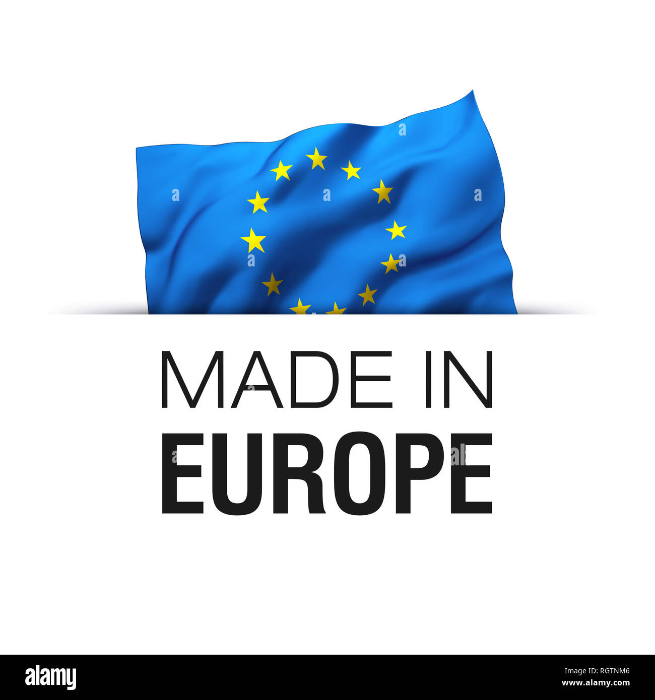 Betere Made in EU Europe - Guarantee label with a waving flag of European IM-45