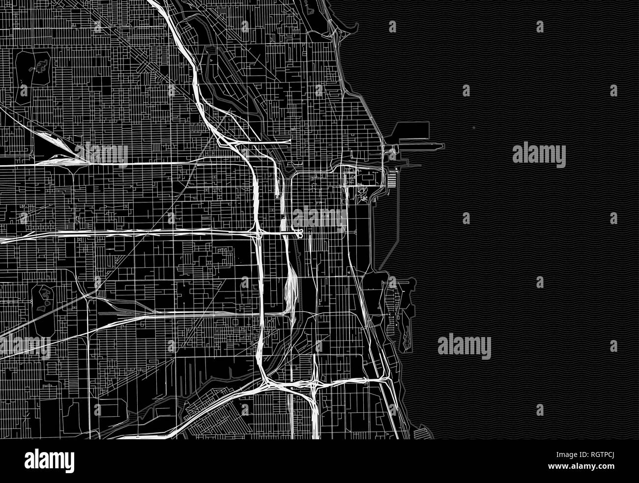 Black map of downtown Chicago, U.S.A. This vector artmap is created as a decorative background or a unique travel sign. - Stock Vector